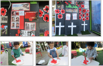 Montage of ANZAC activities at preschool