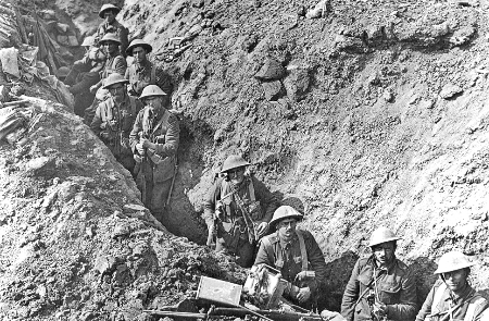 Infantry from the 2nd Battalion, Auckland Regiment, New Zealand Division in the Switch Line near Flers, taken some time in September 1916.