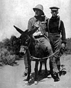 Dick Henderson and his donkey