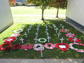 Crosses and wreaths at Tawhai School