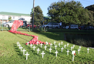 "Crosses with a ""river"" of poppies climbing the fence"