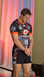 Warrior Ryan Hoffman wearing the ANZAC jersy