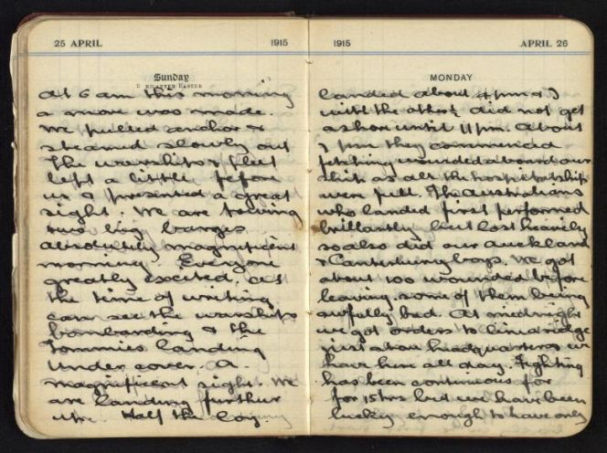 Digitised image of World War 1 diary entry.