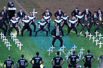 Buck Shelford leads the haka