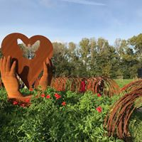 Sculpture in field of poppies