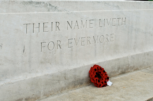 """Their name liveth for evermore"" carved on stone."