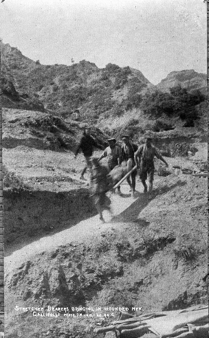 Stretcher Bearers bringing in the wounded.