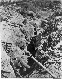 Soldiers dug in at Gallipoli